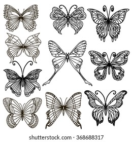 Set of hand drawn butterflies. Vector illustration. EPS 10