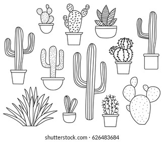 Set of hand drawn cactus plants in a cartoon style including agave, aloe vera and cacti in pots. Line art with transparent background