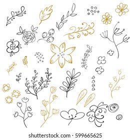 Set of hand drawn calligraphic floral elements in black and gold colors. Vector illustration.