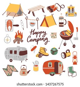 Set of hand drawn camping equipment symbols and icons, hiking, mountain climbing and camping doodle elements, vector illustration, camp clothes, shoes, food, gear and camp associated things