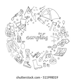 Set of hand drawn camping equipment symbols and icons. Vector illustration. Hiking, mountain climbing doodle elements: camp clothes, shoes, gear, fire place, backpack, lantern, campsite, shovel, axe