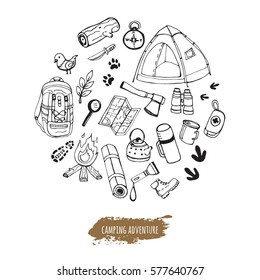 Set of hand drawn camping equipment symbols and icons.