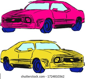 Set of hand drawn car vector illustration.Creative design with pink, yellow colors.