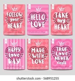 Set of hand drawn, cards, posters. Pizza, heart, love, february, Valentine's Day, romantic, menu, fast food, crown. Lettering, retro background. Sketch style vector.
