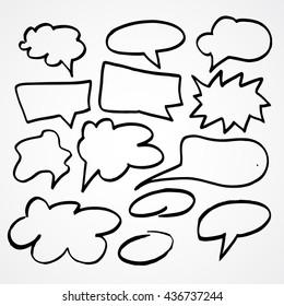 Set of hand drawn cartoon clouds for speech