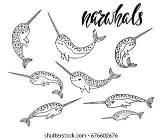 Set of hand drawn cartoon funny narwhals. Nursery unicorn of sea. Vector illustration isolated on white background.