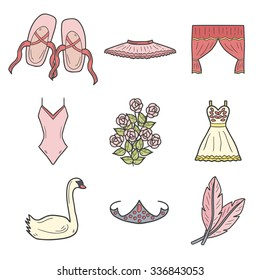 Set of hand drawn cartoon objects on ballet theme: shoes, dress, swan, tutu