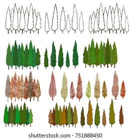 Set of hand drawn cedar trees. Vector illustration. Simply colored, black and white and textured trees. Objects for backgrounds, illustrations. Green, brown, dark yellow colors