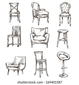 Set Of Hand Drawn Chairs Interior Detail