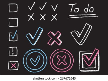 Set of hand drawn chalk graphic elements. Checkmarks, X marks and boxes, isolated on white background.
