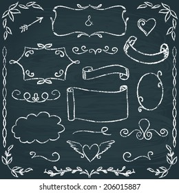 Set of hand drawn chalkboard frames, borders and elements