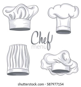 Set of hand drawn chef hat on white. Cooking caps drawings isolated on white background. vector illustration
