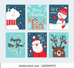 Set of hand drawn Christmas cards. Snowman, polar bear, santa, fireworks etc. Vector illustration