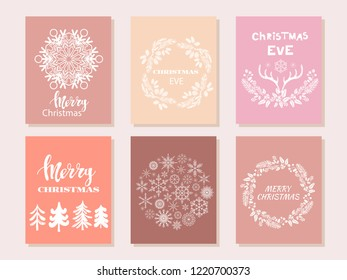 Set of hand drawn christmas cards  with snowflake, lettering, christmas wreath, conifers: fir, larch, juniper, pine, spruce  in vector. Unique  hand drawn winter  design  for  greeting card. Xmas.Vect