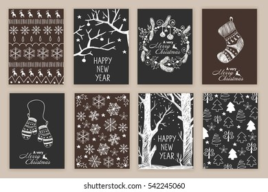 set of Hand drawn Christmas cards. vector illustration