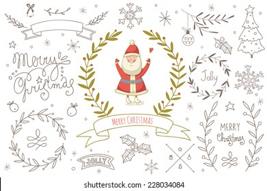 Set of hand drawn Christmas elements with Santa Claus. EPS 10. No transparency. No gradients.