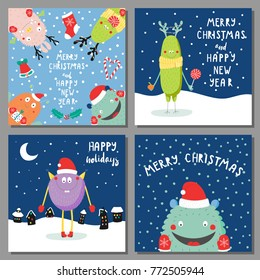 Set of hand drawn Christmas greeting cards templates with cute funny cartoon monsters in Santa hats, with deer antlers, with quotes, snow. Vector illustration. Design concept kids, winter holidays.