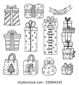 Set of hand drawn Christmas and New Year gift boxes