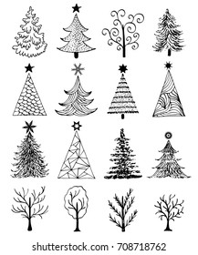 Set of hand drawn christmas tree on white background.Vector illustration.