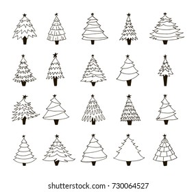 Set of hand drawn Christmas trees. Contour drawing. Black and white vector illustration. Happy New year decor. Winter collection.