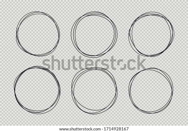 Set of hand drawn circle line sketch set. Doodle vector circular scribble round circles for message note mark design element. Pencil or pen graffiti bubble or ball draft illustration.