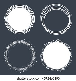 Set of hand drawn circle scribbles with floral elements and dots. Vector design elements.