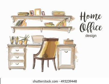 Set of hand drawn classic Home office interior work table  wooden shelf  chair vector sketch store, apartment, promotion, sale, ads