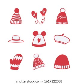 Set of hand drawn clothing items,accessories vector icons.Collection of clothing doodles.Beanie,pom pom hat,winter hat,mittens,gloves,fedora,beret icons for patterns,scrapbooks,planners.