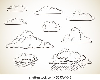 Set of hand drawn clouds Vector illustration