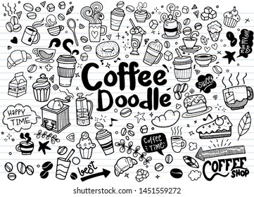 Set of hand drawn coffee and delicious sweets . Vector illustration. Cakes, biscuits, baking, cookie, pastries, donut, ice cream, macaroons. Perfect for dessert menu or food package design