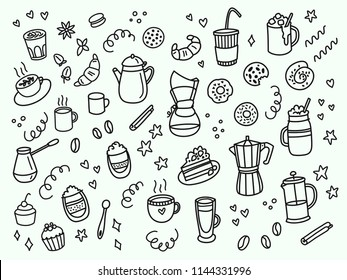 Set of hand drawn coffee doodles: drinks, snacks and coffee tableware. Monochrome vector illustration for greeting cards, t-shirts, menu, etc.