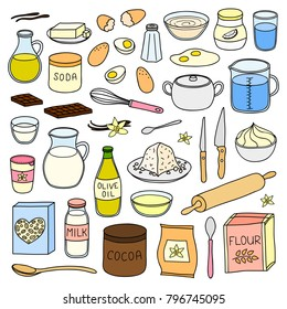 Set of hand drawn colored cooking, baking ingredients isolated on white background.
