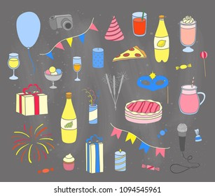 Set of hand drawn colored party items isolated on chalkboard background.