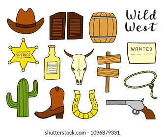 Set of hand drawn colored Wild West elements isolated on white background.