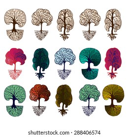 Set of hand drawn colorful decorative and outlined trees isolated on white. Vector illustration