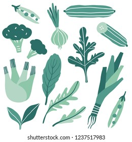 Set with hand drawn colorful doodle green vegetables and herbs. Sketch style vector collection. Flat icons set: onion, arugula, peas, cucumber, leek, broccoli, . Vegetarian healthy food. Vegan, farm