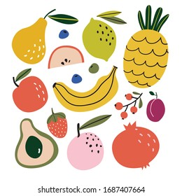 Set with hand drawn colorful doodle fruits. Sketch style vector collection. Flat  design. Apple, peach, lemon, banana, pomegranate, pineapple, pear, avocado, plum. Organic, vegan food illustration