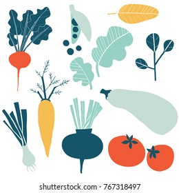 Set with hand drawn colorful doodle vegetables. Sketch style vector collection. Vegetables flat icons set: cucumber, carrot, onion, tomato.