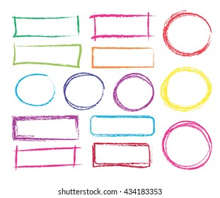 set of hand drawn colorful  frames . vector colored pencils design elements
