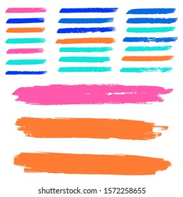 Set Of Hand Drawn Colorful Grunge Brushes. Blue Dirty Art Paint. Watercolour Grunge Texture. Green Batik Brush. Watercolor Layer. Yellow Distress Banner. Brush Banner.