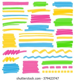 Set of hand drawn colorful highlighter stripes, strokes and marks. Optimized for one click color changes. Transparent colors EPS10 vector.