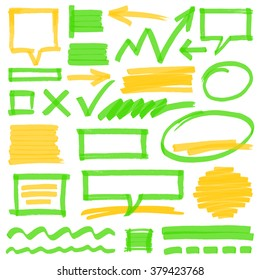 Set of hand drawn colorful highlighter design elements, marks, stripes and strokes, speech bubbles and arrows. Optimized for one click color changes. Transparent EPS10 vector.