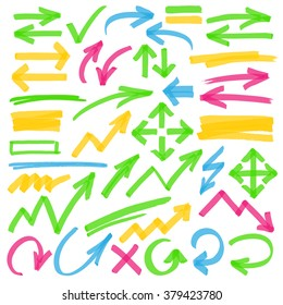 Set of hand drawn colorful highlighter arrows, pointers, arrowheads and marks. Optimized for one click color changes. Transparent colors EPS10 vector.