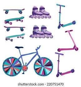Set of hand drawn colorful scooters, rollers, bike and skateboards. Vector illustration.