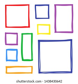 Set of hand drawn colorful sketched square frames isolated on white background.