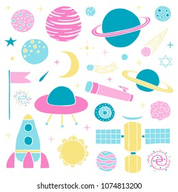 Set of hand drawn colorful space items isolated on white background.