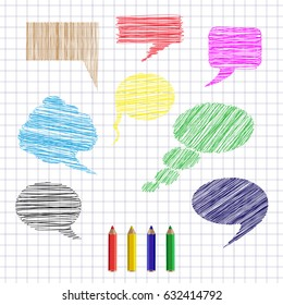 Set of hand drawn colorful speech and thought bubbles on lined paper in cage background. Colored shading and pencils. Vector illustration