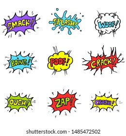 set of Hand drawn comic speech bubbles with emotion and text . vector doodle comic explosion cartoon illustrations isolated for posters, banners, web, and concept design