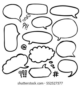 Set of Hand Drawn Comics Style Speech Bubbles