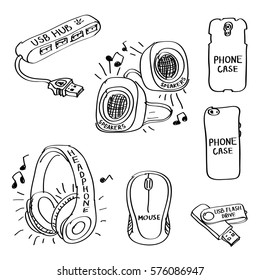 Set of hand drawn computer accessories doodles isolated on a white background. Vector illustrations of usb hub, headphone, mouse, speakers, phone case, usb flash drive.